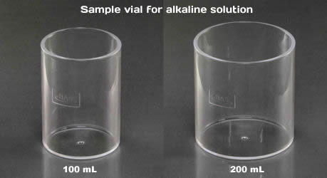 Sample vial for alkaline solution in 100 mL and 200 mL.