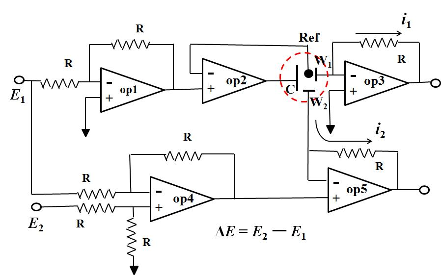 Five Op amps used circuit diagram of bi-potentiostat.