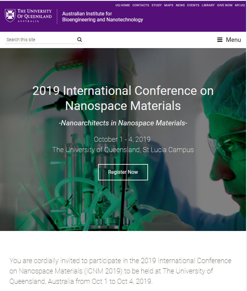 visit us at 2019 Conference on Nanospace Materials, The University of Queensland, St Lucia Campus