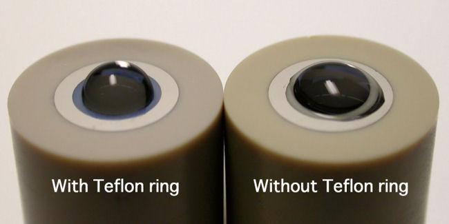 Diferença entre o eletrodo de disco de carbono vítreo para RRDE-3A com e sem espaçador de anel de Teflon.