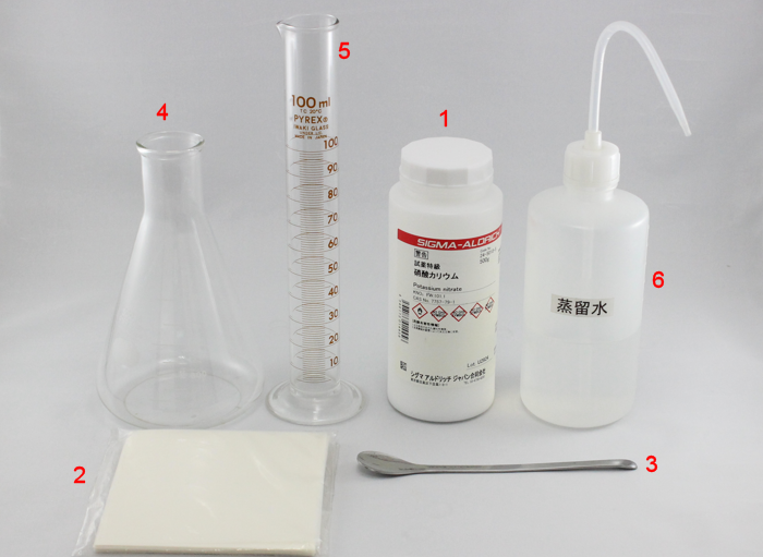 Fig. 1 What you need to prepare: (1) Potassium nitrate;(2) Weighing paper;(3) Spatula;(4) Beaker 500 mL;(5) Metric cylinder 100 mL;(6) Distilled water