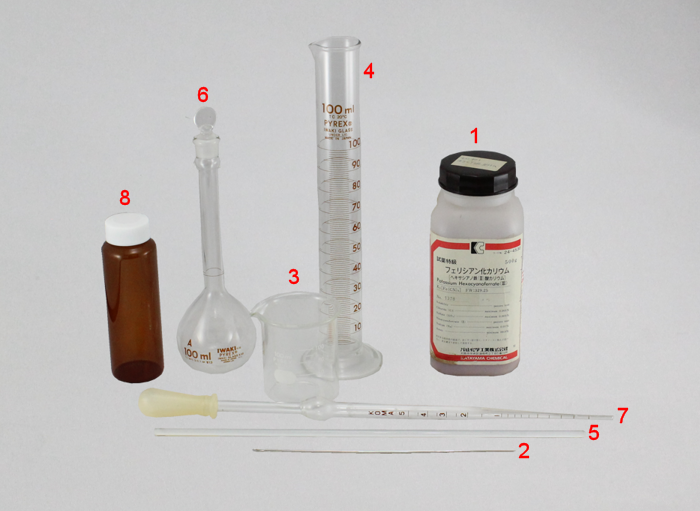 Fig. 4-1 What you need to prepare 2 mM Potassium ferrycianide: (1) Potassium ferricyanide;(2) Spatula;(3) Beaker 50 mL;(4) Metric cylinder 100 mL;(5) Glass rod;(6) Volumetric flask;(7) Pipette 5 mL;(8) Shading bottle for storage