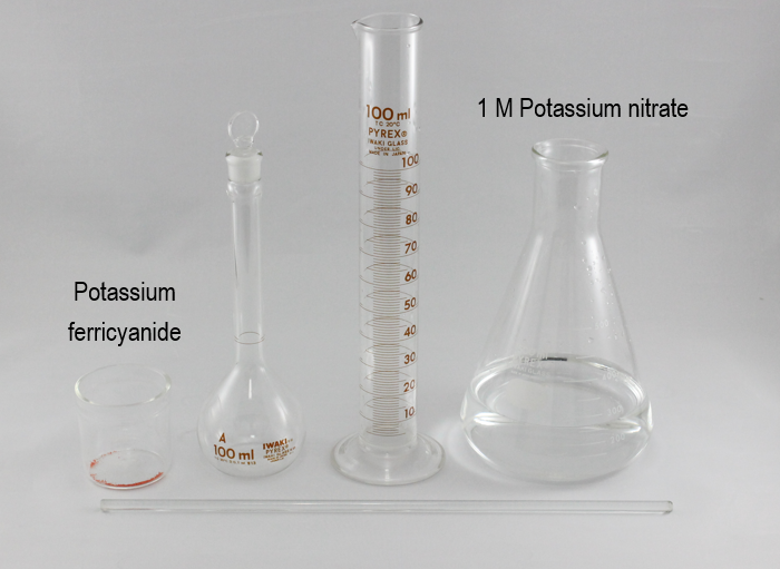 Fig. 6-1 To dissolve the potassium ferricyanide use the 1 M Potassium nitrate solution prepared in the previous section.