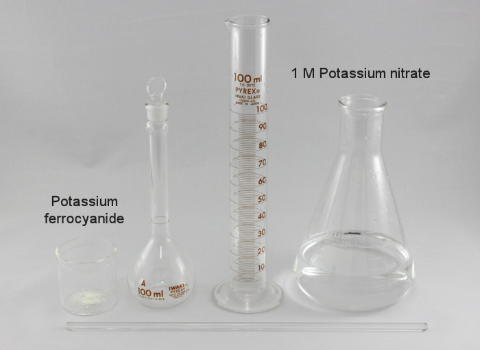 Fig. 6-2 To dissolve the potassium ferrocyanide use the 1 M Potassium nitrate solution prepared in the previous section.