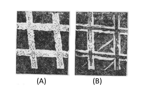 Fig. 3-2 Scanning electron microscope photograph of 500-lpi gold mesh grid (x 1000x)